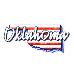 american flag in oklahoma state map grunge style vector image