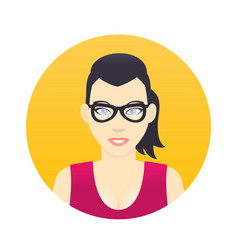 avatar icon cartoon girl in glasses in flat style vector image