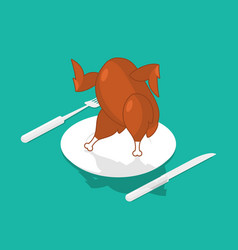 baked turkey dancing on plate grilled chicken on vector image