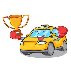 Boxing winner taxi character mascot style vector
