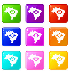 Brazil map with flag icons 9 set vector