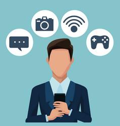 Businessman using smartphones apps vector