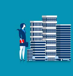 Businesswoman owner of skyscraper buildings vector