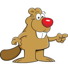 Cartoon beaver pointing vector image