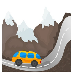 Cartoon bus on a mountain road vector image