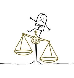 Cartoon man and imbalance injustice vector
