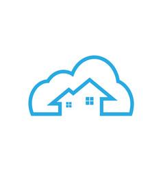 Cloud house logo icon template vector