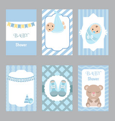 Collection of cute baby boy card collection of vector