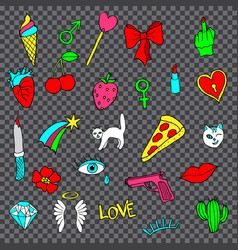 Colorful set of doodle fashion patch badges vector