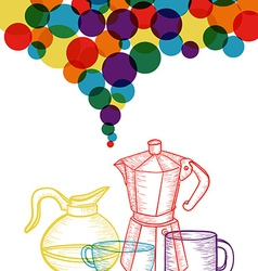 Colorful social coffee set concept vector image