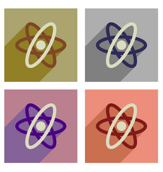Concept of flat icons with long shadow atom vector