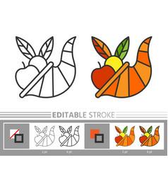 cornucopia horn of plenty thanksgiving line icon vector image
