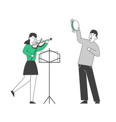 Creative musical duet boy playing on tambourine vector