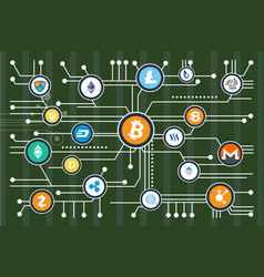 cryptocurrency mining scheme with colorful icons vector image