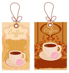 Cup of coffee with abstract design elements set vector image