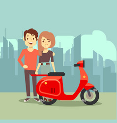Cute cartoon young lovers and bike on city vector