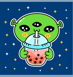 Cute funny alien drink bubble tea from cup vector