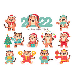 cute tiger 2022 chinese happy new year symbol vector image