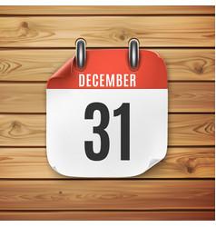 december 31 calendar icon on wooden planks vector image