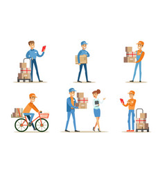 delivery service and logistics set couriers vector image