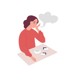 Depressed young woman smoking cigarettes concept vector