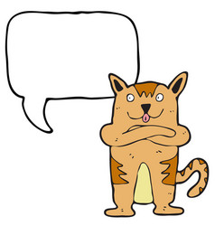 digitally drawn cat and speech bubble design hand vector image