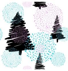 doodle fir-tree seamless vector image