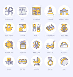 early development baby toys flat line icons play vector image