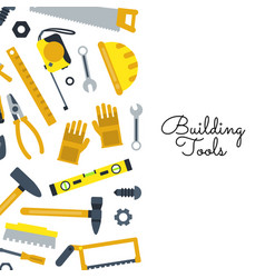 flat construction tools building elements vector image