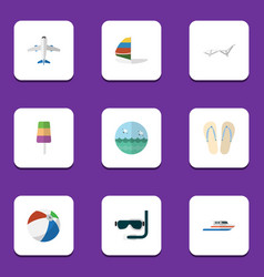 flat icon beach set of scuba diving surfing boat vector image