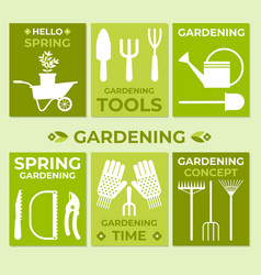 Gardening set of cards vector