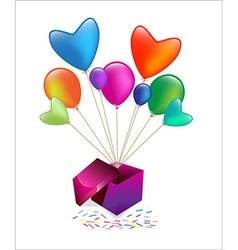 gift box with colored balloons waving vector image