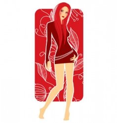 Girl in red vector