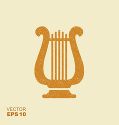 golden lyre icon with scuffed effect in a separate vector image