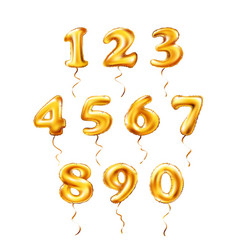 Golden number 1 2 3 4 5 6 7 8 9 0 metallic vector