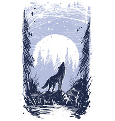 Graphic howling wolf standing on stone in forest vector