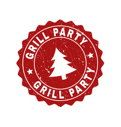 Grill party grunge stamp seal with fir-tree vector