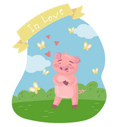happy pink piggy character on the green lawn vector image
