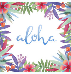 Hawaii aloha with tropical leaves frame vector