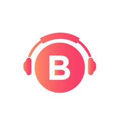 Headphone template on b letter letter b music vector