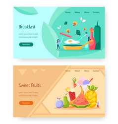 Healthy food website landing page template vector