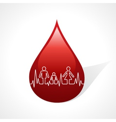 Heartbeat make family icon inside the blood drop vector image