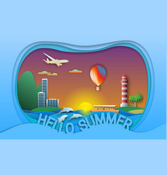 hello summer in paper cut style vector image