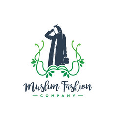 hijab fashion logo design vector image
