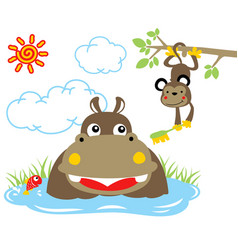 Hippopotamus bath time with monkey in the swamp vector