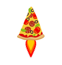 hot pizza rocket piece of fast food and flame vector image