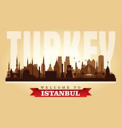 Istanbul turkey city skyline silhouette vector