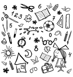 Kit of monochrome children and school sketches vector image