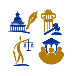 Law justice firm logo pillar gavel design vector