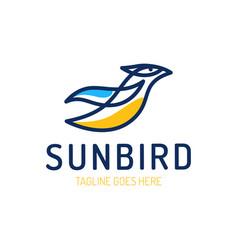 Logo a flying bird in line style travel bird vector